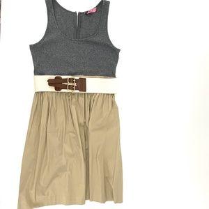 ELIZA J  GRAY/TAN FIT & FLARE SLEEVELESS DRESS 12